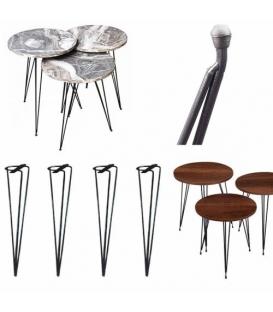 Türksit Zigon Sehpa Ayağı Metal Boyalı Siyah 56 cm 3'Lü Set