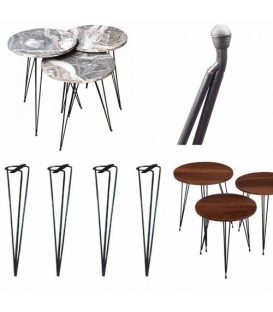 Türksit Zigon Sehpa Ayağı Metal Boyalı  Siyah 41 cm 3'Lü Set